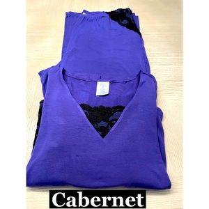 Cabernet 2 Piece PJ Set W/ Lace Sz M&L